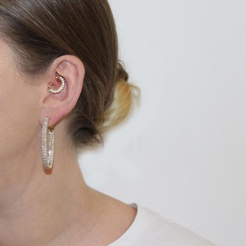 AMES GOLD CRYSTAL HOOP EARRINGS