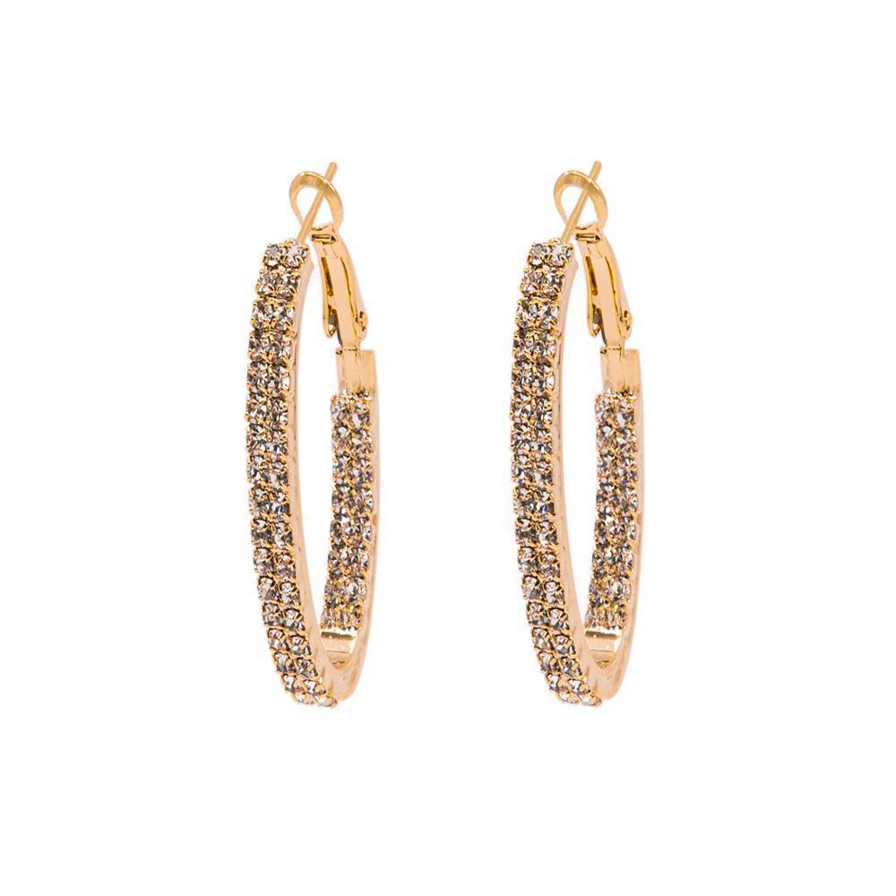 AMES ROSE GOLD CRYSTAL HOOP EARRINGS