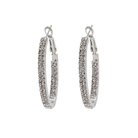 AMES SILVER CRYSTAL HOOP EARRINGS