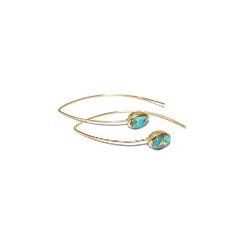 AMEY TEAR DROP TURQUOISE GOLD EARRINGS