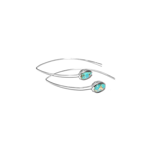 AMEY TEAR DROP TURQUOISE SILVER EARRINGS
