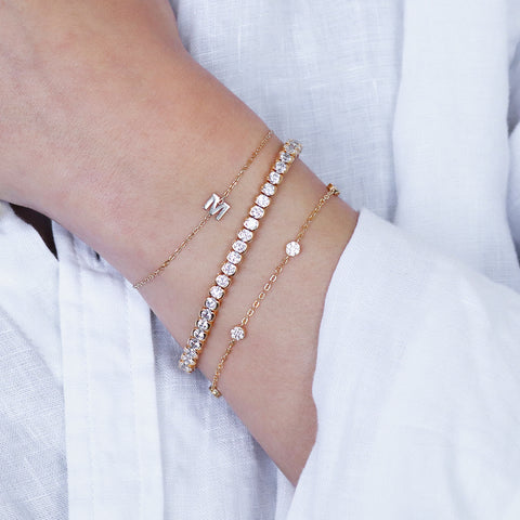 AMMA GOLD CRYSTAL TENNIS BRACELET