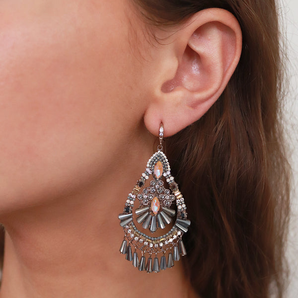 AMRUTA WHITE LARGE CRYSTAL CLUSTER TEAR DROP EARRINGS