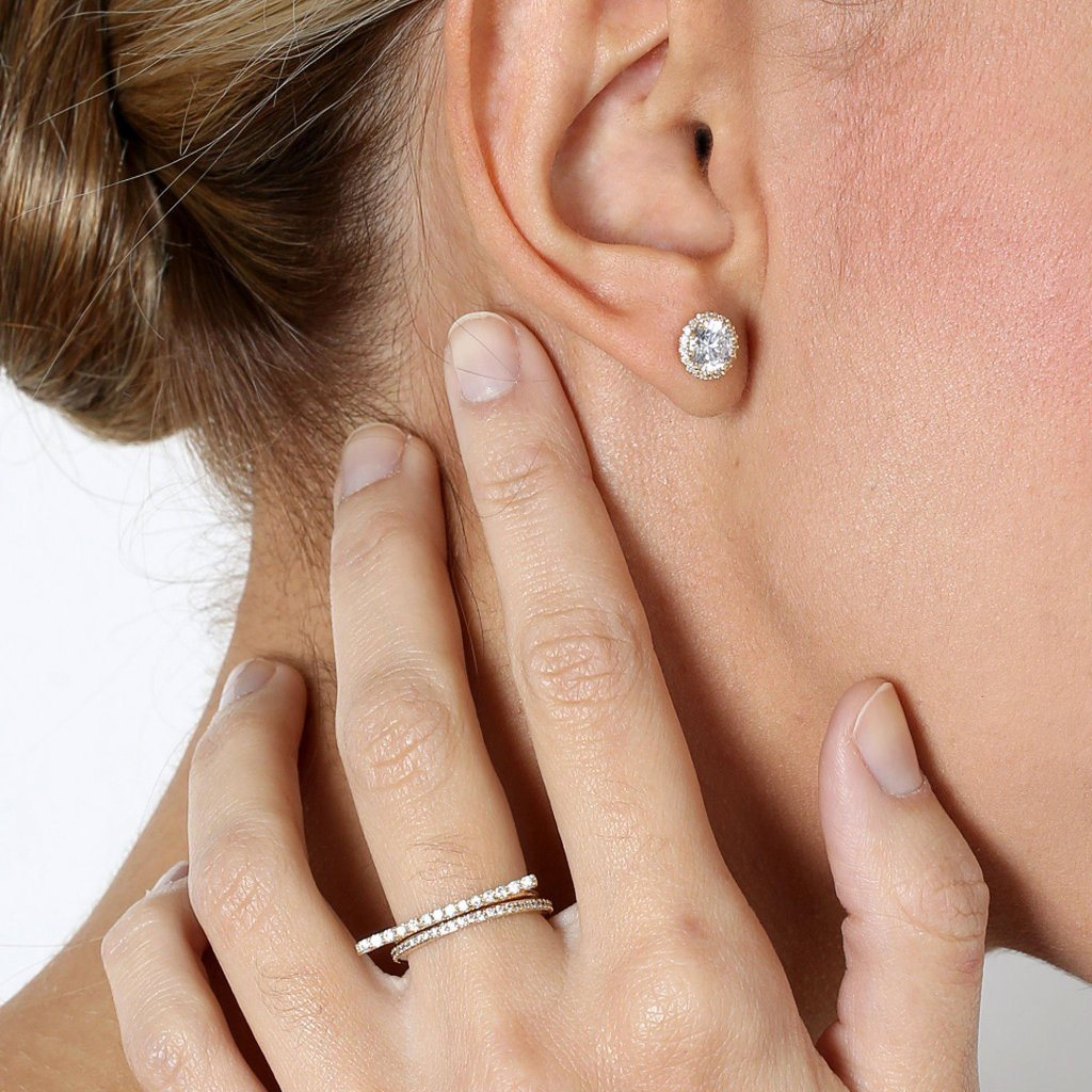 ANNE GOLD CRYSTAL STUD EARRING