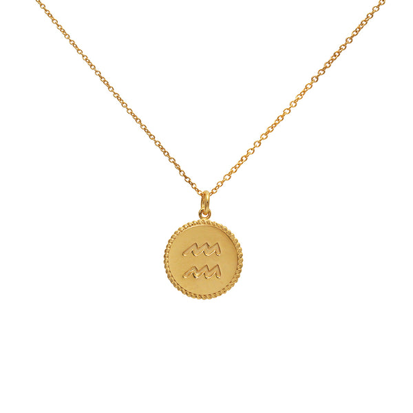 aquarius star sign gold necklace