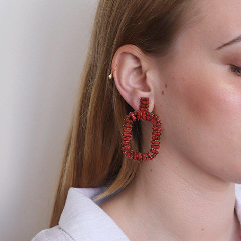 ARANDI CORAL AND GOLD EARRINGS
