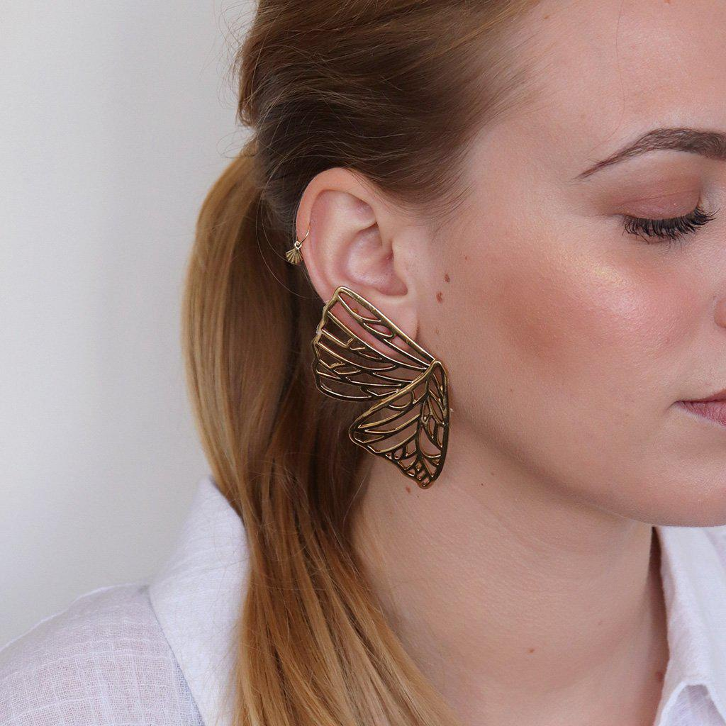 ARATUA PLAIN ANTIQUE GOLD MAXI EARRINGS