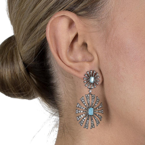 ARAVIS FILIGREE GUNMETAL & BLUE DROP EARRINGS-Earrings-MEZI