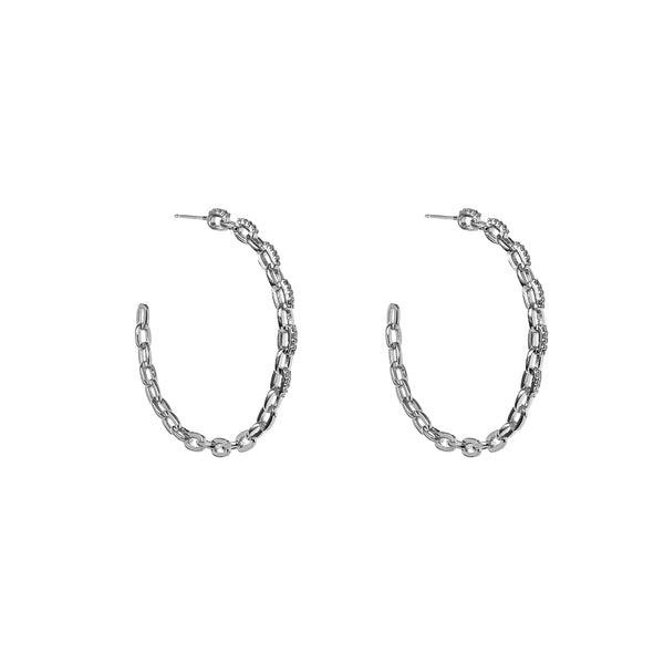 ARISSA CHAIN CRYSTAL SILVER HOOP EARRINGS