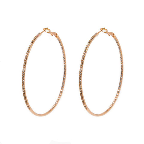 ARTEM ROSE GOLD CRYSTAL HOOP EARRINGS