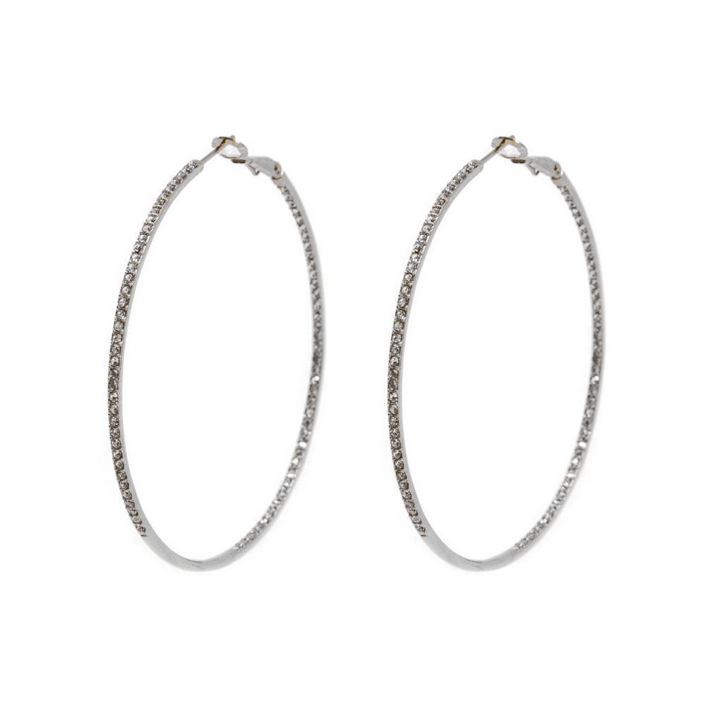 ARTEM SILVER CRYSTAL HOOP EARRINGS