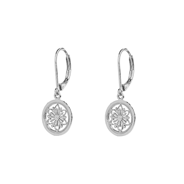 FILIGREE FLOWER DISC STERLING SILVER DROP EARRINGS
