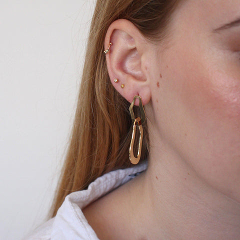 ASHA 2 MICRON GOLD DOUBLE LOOP EARRINGS