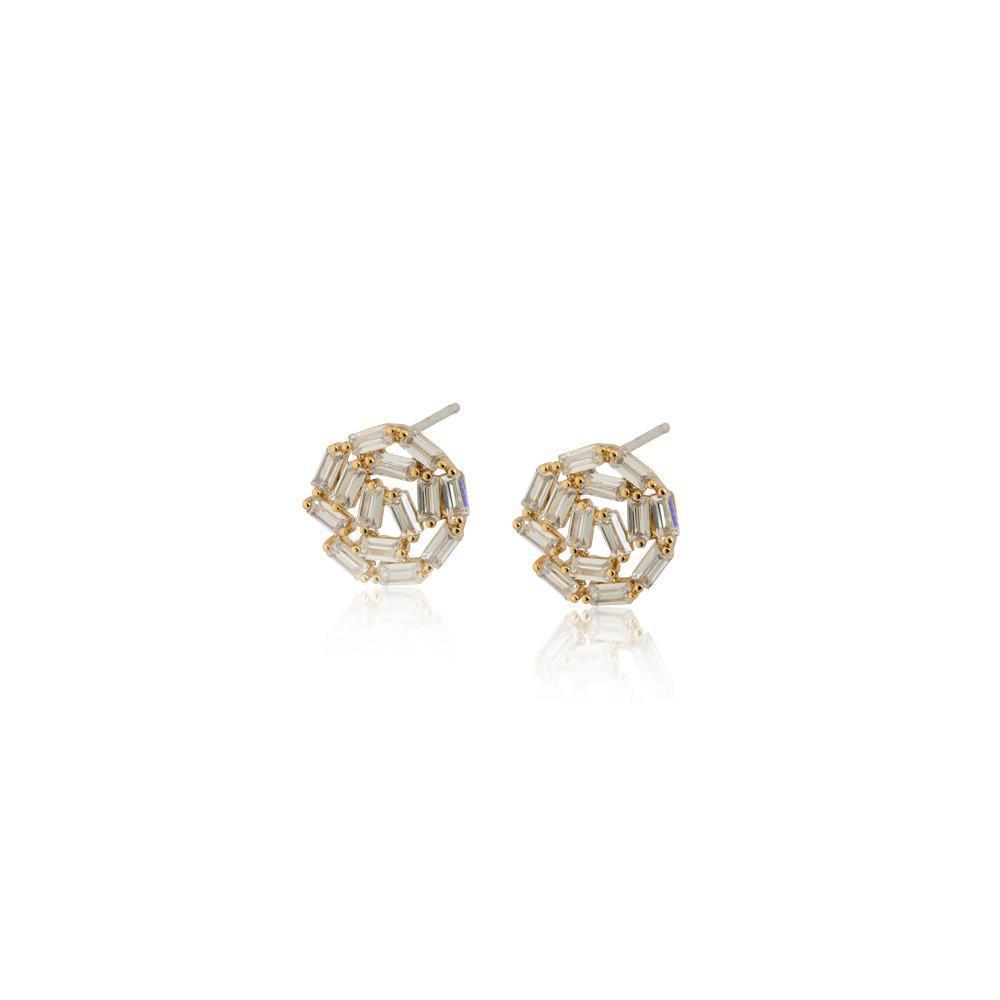 ATHENA GOLD CRYSTAL STUD EARRINGS