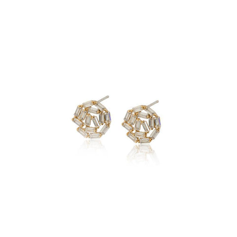 ATHENA GOLD CRYSTAL STUD EARRINGS-Earrings-MEZI