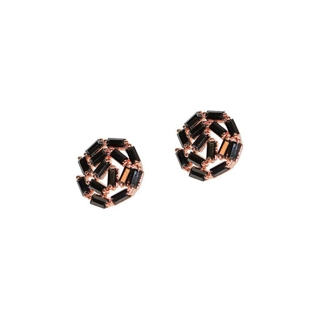 ATHENA ROSE GOLD BLACK CRYSTAL STUD EARRINGS