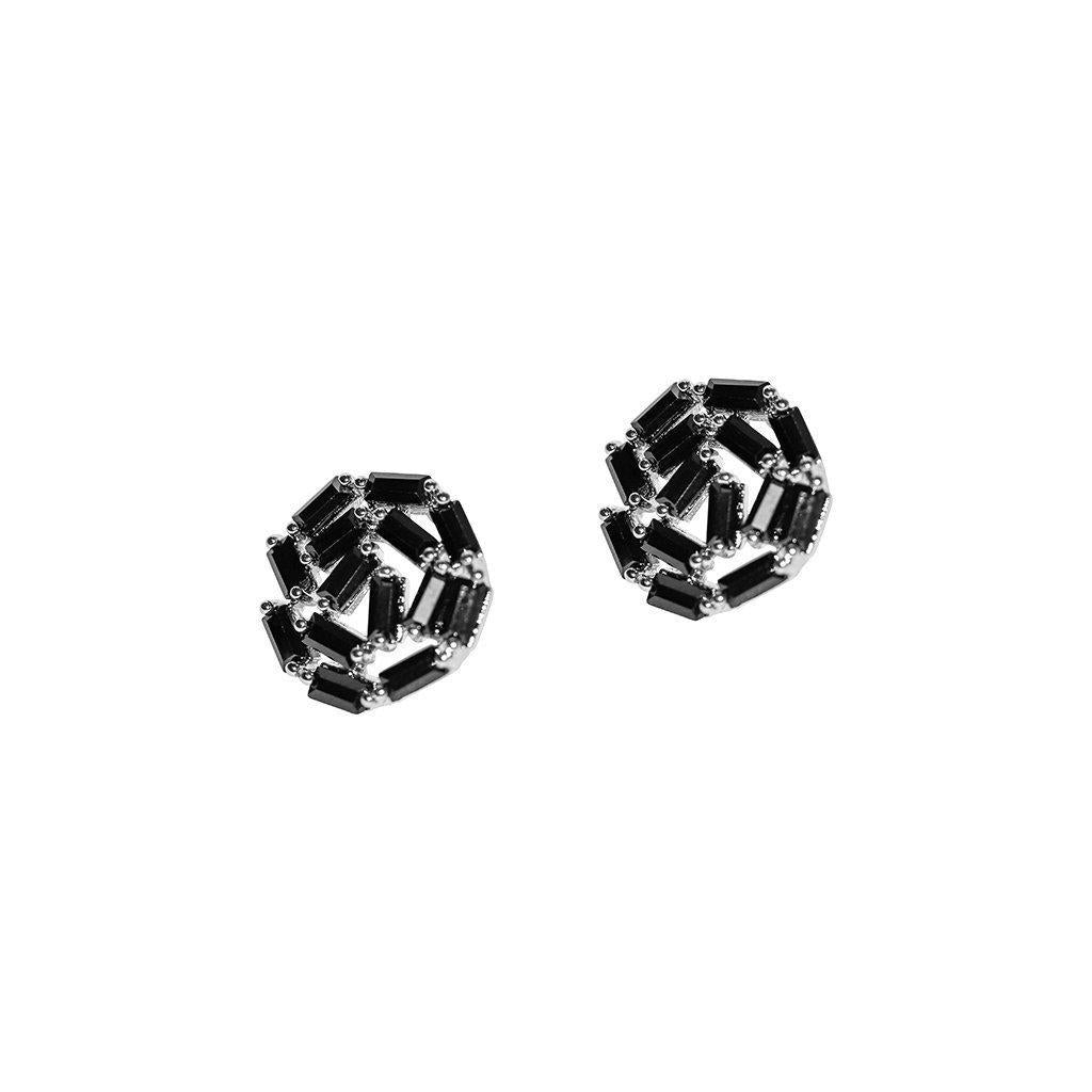 ATHENA SILVER BLACK CRYSTAL STUD EARRINGS