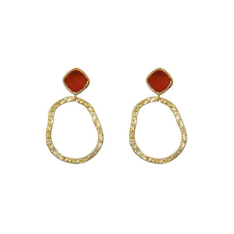 AUDREY CARNELIAN SEMI-PRECIOUS 2 MICRON GOLD EARRINGS