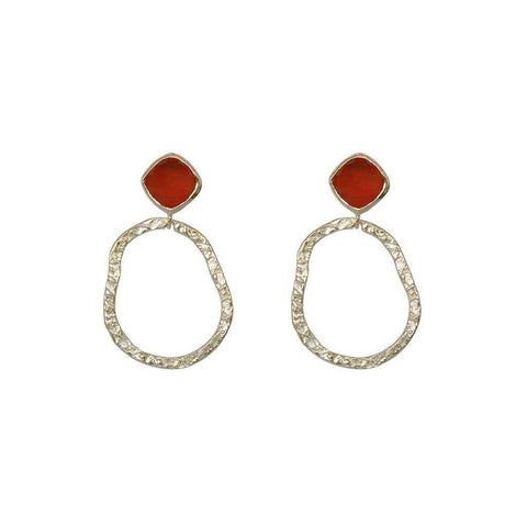 AUDREY CARNELIAN STERLING SILVER EARRINGS