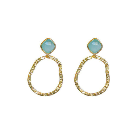 AUDREY CHALCEDONY SEMI-PRECIOUS 2 MICRON GOLD EARRINGS