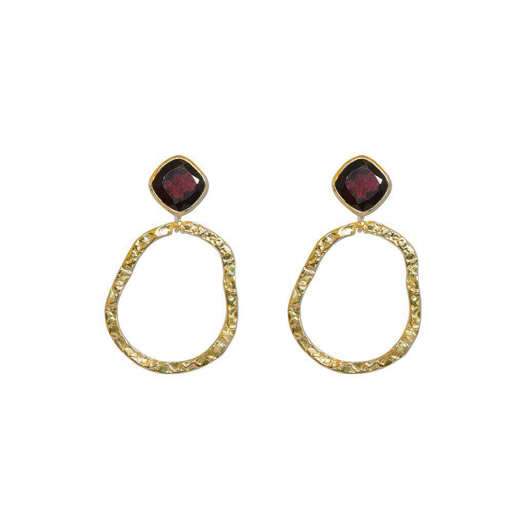 AUDREY GARNET SEMI-PRECIOUS 2 MICRON GOLD EARRINGS