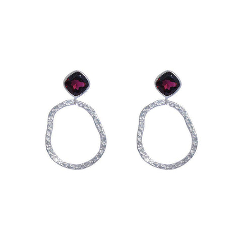 AUDREY GARNET STERLING SILVER EARRINGS