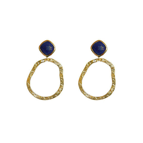 AUDREY LAPIS SEMI-PRECIOUS 2 MICRON GOLD EARRINGS