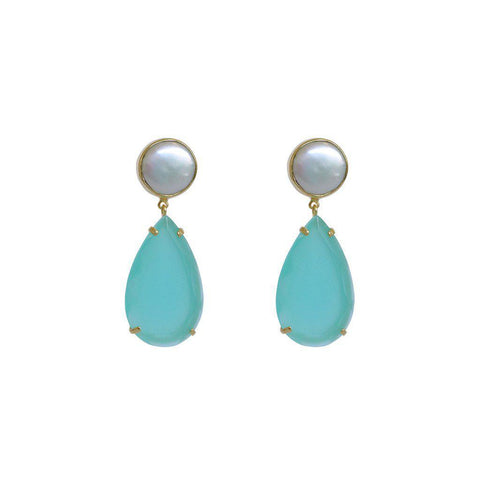 AVERY CHALCEDONY DROP SEMI-PRECIOUS 2 MICRON GOLD EARRINGS