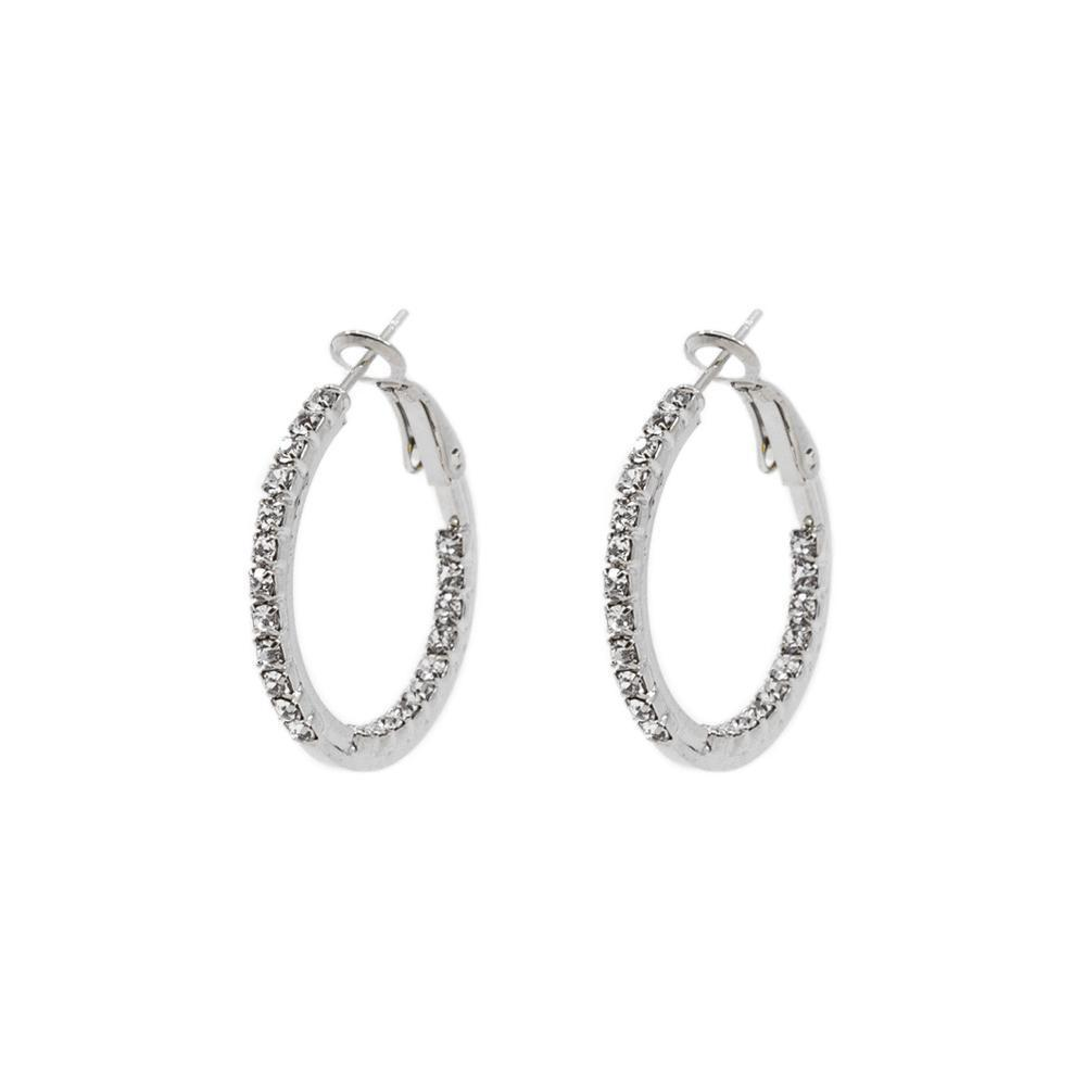 AVI SILVER HOOP CRYSTAL EARRINGS