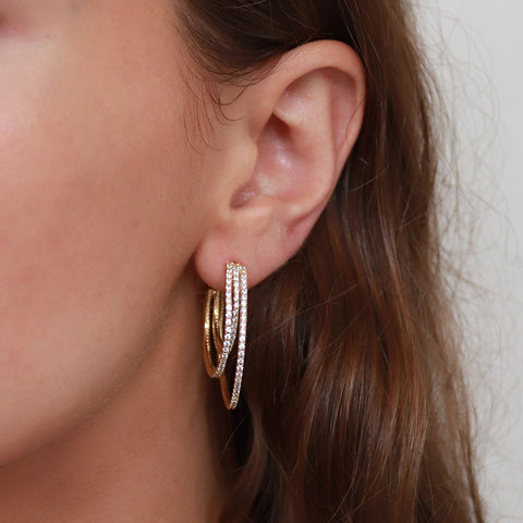 AVNI TRIPLE HOOP GOLD EARRINGS
