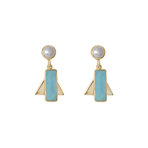 AYLA CHALCEDONY SEMI-PRECIOUS 2 MICRON GOLD PLATED EARRINGS