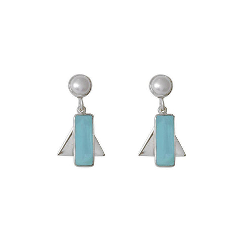 AYLA CHALCEDONY SEMI-PRECIOUS STERLING SILVER EARRINGS