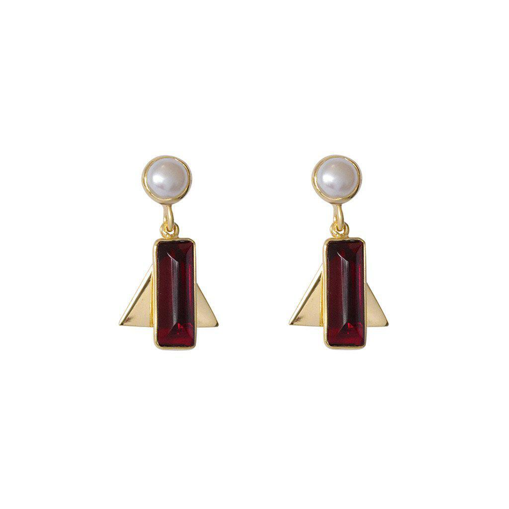 AYLA GARNET SEMI-PRECIOUS 2 MICRON GOLD EARRINGS
