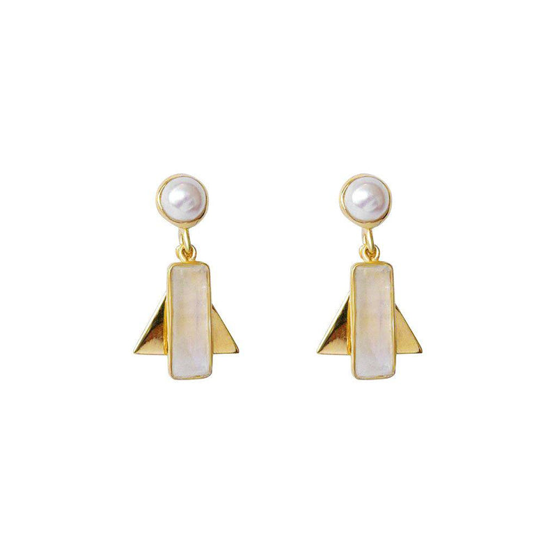 AYLA MOON STONE SEMI-PRECIOUS 2 MICRON GOLD EARRINGS