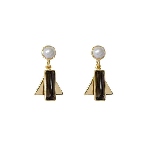 AYLA SMOKEY QUARTZ SEMI-PRECIOUS 2 MICRON GOLD EARRINGS
