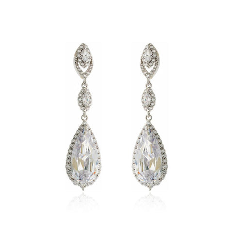 AZALEA TEAR DROP CRYSTAL EARRINGS-Earrings-MEZI