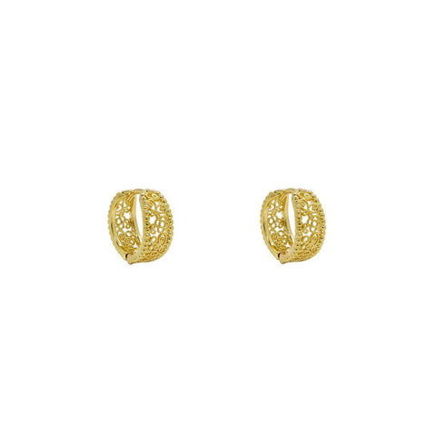 AZIBO 2 MICRON GOLD FILIGREE HOOP EARRINGS