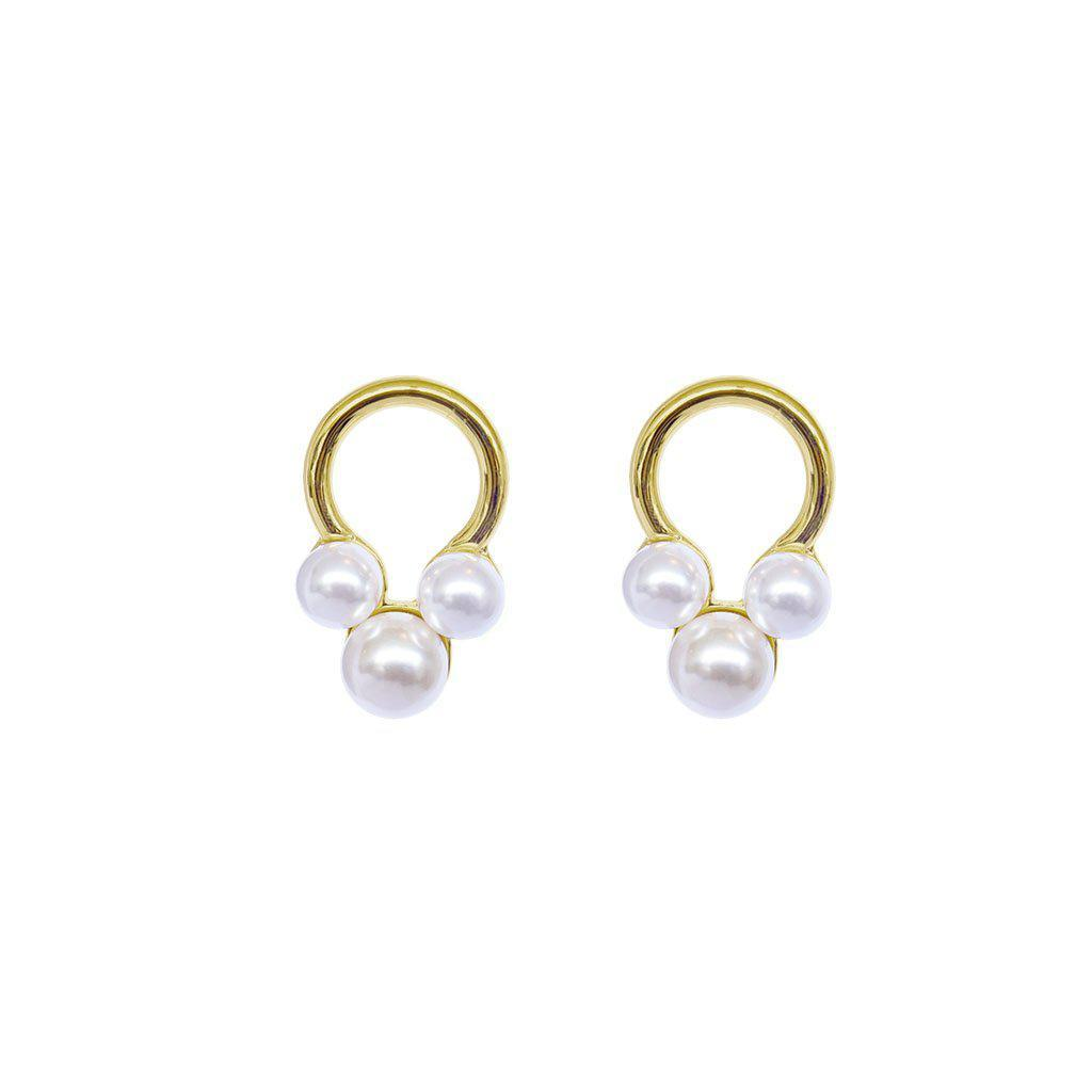 BADAI GOLD SHELL PEARL EARRINGS