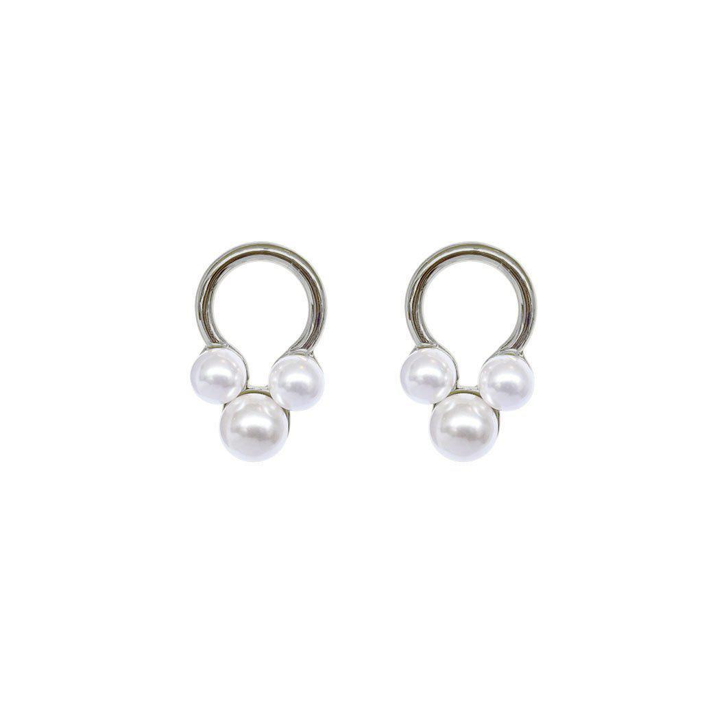 BADAI SILVER SHELL PEARL EARRINGS