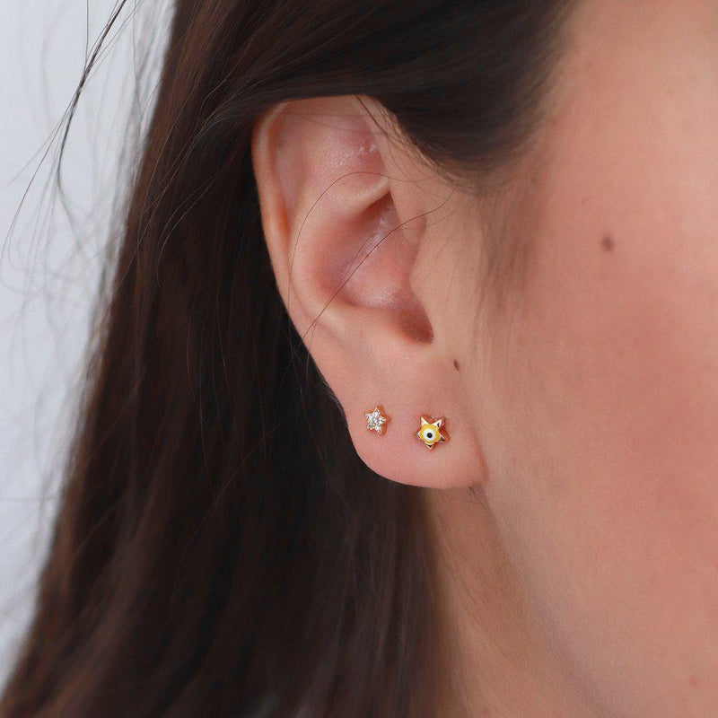 EVIL EYE STAR GOLD STUDS