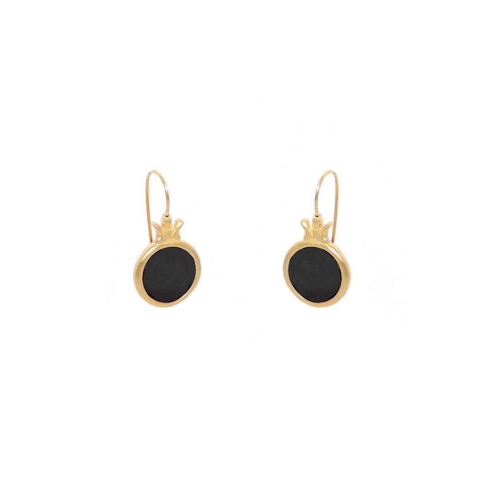 BAHAR ONYX GOLD FILLED EARRINGS