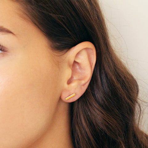 BAR STERLING SILVER GOLD PLATED STUDS