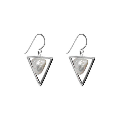 BAYAN STERLING SILVER FRESH WATER PEARL DANGLING EARRINGS