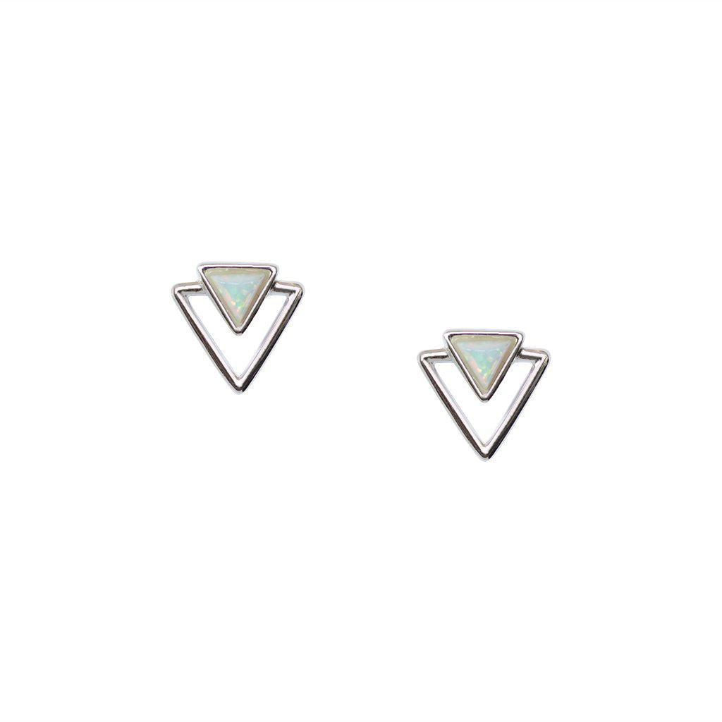 BAYDA OPALITE PEARL TRIANGLE STUDS EARRINGS
