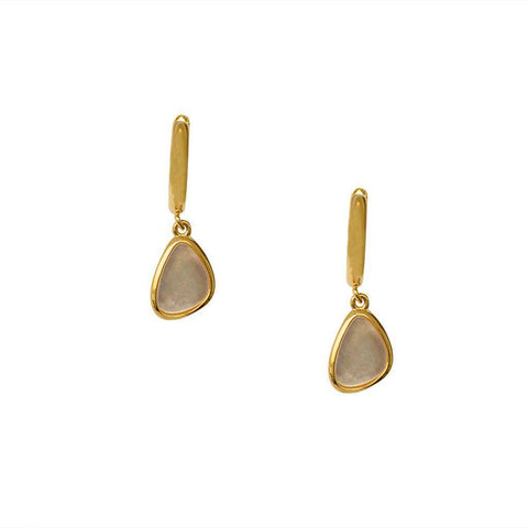 BENU MOON STONE CHARM HUGGIES GOLD EARRINGS