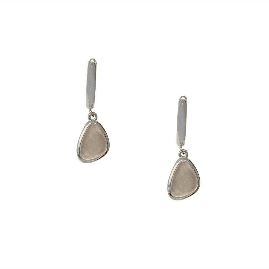 BENU MOON STONE CHARM HUGGIES SILVER EARRINGS