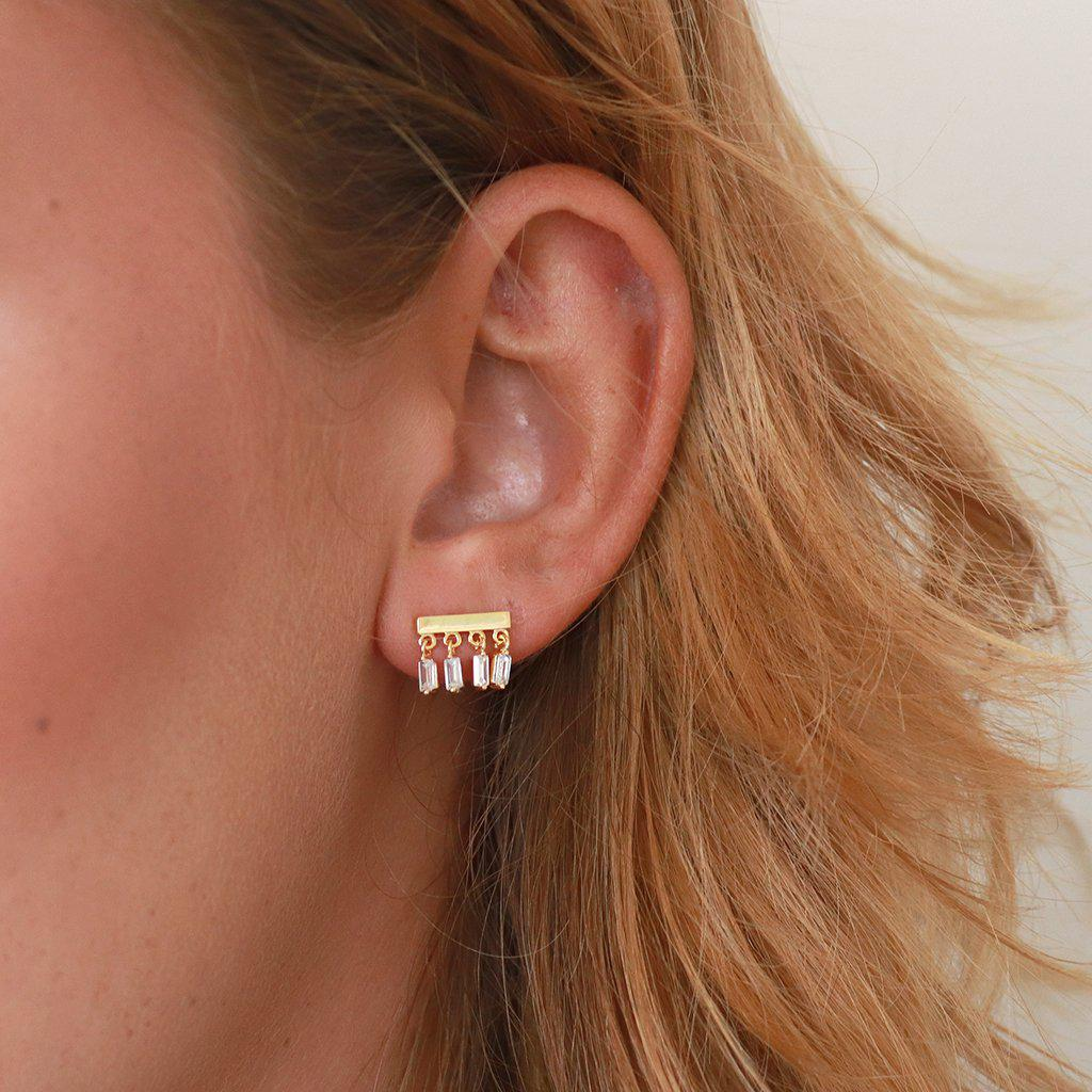 BESS CRYSTAL DROP GOLD STUDS