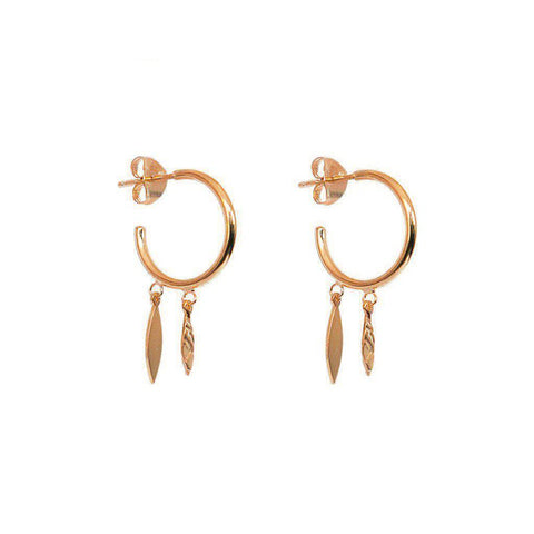 BINI LEAF CHARM ROSE GOLD EARRINGS