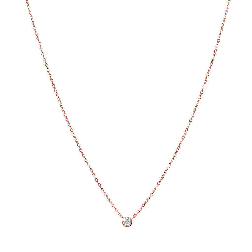 BISAR FINE CRYSTAL ROSE GOLD CHAIN NECKLACE