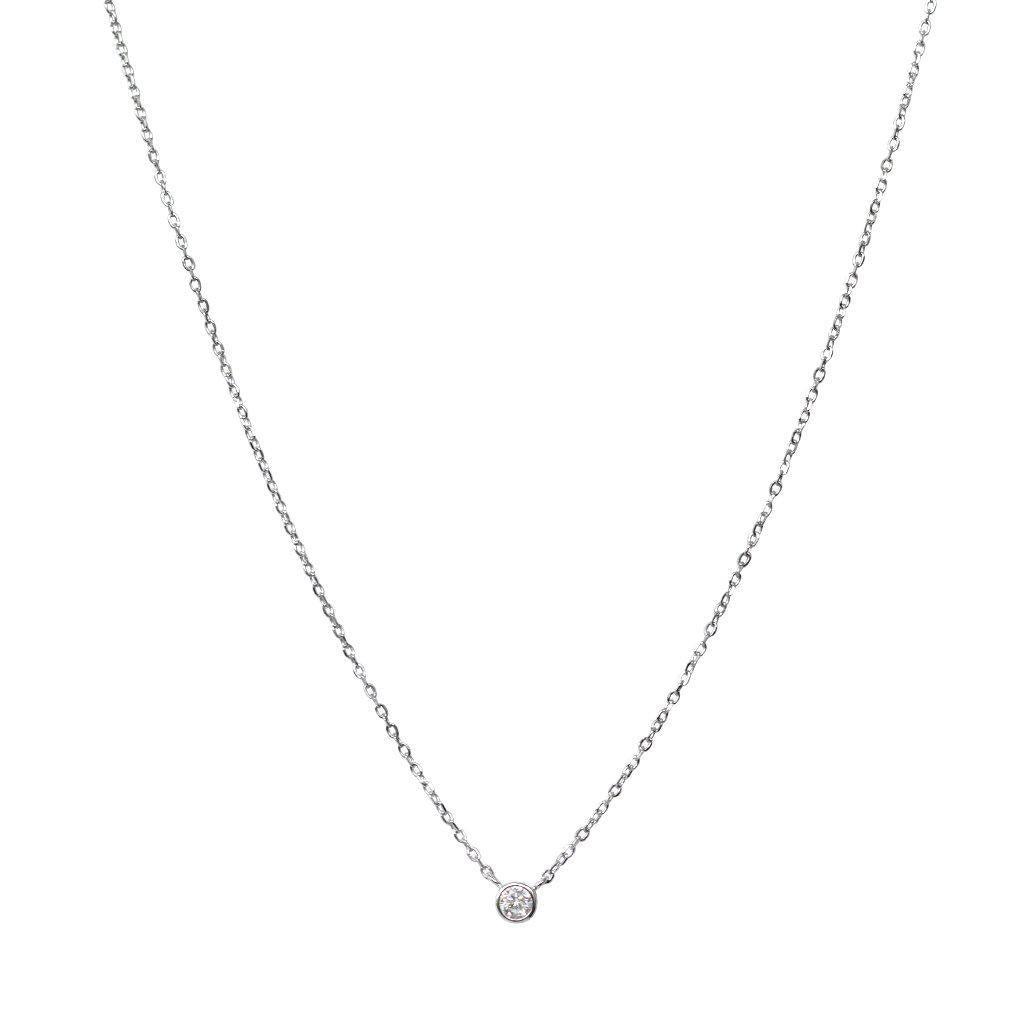BISAR FINE CRYSTAL SILVER CHAIN NECKLACE